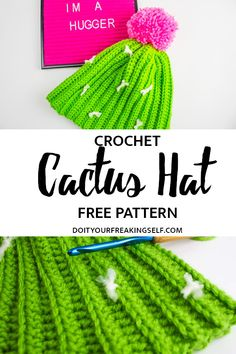 Crochet Tutorial Design Whether you're a plant lady waiting to happen, or just have a deep love of all things cactus, this Crochet Cactus Hat Pattern is enough to make you swoon without getting prickly! Loom Knitting, Free Knitting, Knitting Patterns, Crochet Patterns, Hat Patterns, Crochet Cactus Free Pattern, Knitting Tutorials, Knitting Machine, Stitch Patterns