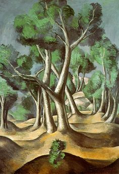 The Grove, 1912, oil on canvas, 116.5 x 81.3 cm. Hermitage, St. Petersburg, Russia.  Cubism, Andre Derain (1880-1954).