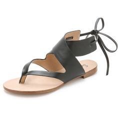 Splendid Camdyn Flat Sandals featuring polyvore, fashion, shoes, sandals, black, black leather sandals, real leather shoes, flat sandals, tie sandals and tie shoes