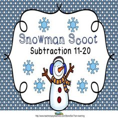 This is a fun game that keeps your students moving.  It is a quick way to see if they have know their facts or you can use it as an assessment.  the cards can also be used as a center with the manipulatives. $ #math#teaching ideas#Scoot#game#winter#snowmen#subtraction