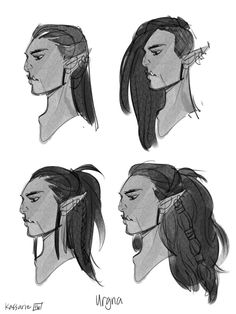 Trying out different hairstyles for Urgna the Huntress! Trying out different hairstyles for Urgna th Character Sketches, Character Design References, Character Drawing, Character Sheet, Hair Reference, Drawing Reference Poses, Style Tim Burton, Warhammer 40k, Medieval Hairstyles