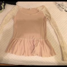 Free people knit top blush and cream size small Free people pink and cream blush top size small worn a handful of times Free People Tops Tees - Long Sleeve