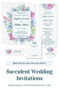 Succulent wedding invitations featuring a watercolor succulent and foliage design. Visit our website to see the full range of matching wedding stationery that you can personalize for your wedding day.#wedding #weddings #weddinginvitations #weddinginvites #weddingstationery #weddinginvitationsuite #succulentwedding #succulentweddinginvitations #desertweddinginvitations #desertwedding #bohoweddinginvitations