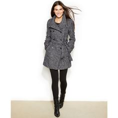 Calvin Klein Faux-Leather-Trim Tweed Double-Breasted Belted Coat