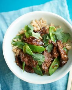 Beef and Snow Pea Stir-Fry (add a red pepper too) - Martha Stewart Recipes