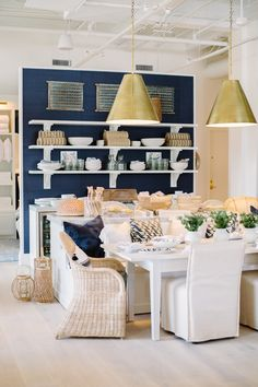 How To Select Little One Dresses Navy and Natural For Your Dining Nook Image Via Serena and Lily's Atlanta Design Shop Decor Inspiration, Dining Room Inspiration, Dining Nook, Dining Chairs, Sweet Home, D House, House Design, Design Shop, Atlanta