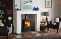 Stovax vogue hearth mounted - Google Search Wooden Fireplace, Outdoor Fireplace Designs, Fireplace Ideas, Fireplace Gallery, Stove Fireplace, Outdoor Fireplaces, Chimney Decor, Wood Burning Fireplace Inserts, Multi Fuel Stove