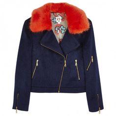 Wool jacket SHRIMPS (2,880 CNY) ❤ liked on Polyvore featuring outerwear, jackets, coats & jackets, blue jackets, colorful jackets, multi colored jacket, blue wool jacket and woolen jackets