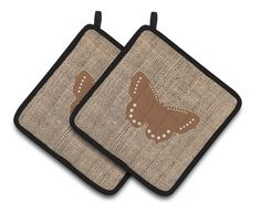 Butterfly Faux Burlap and Brown Pair of Pot Holders BB1033-BL-BN-PTHD