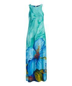Blue & Green Floral Sleeveless Maxi Dress