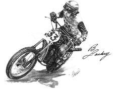 "dirt+bike+drawings | Michael Petersen Creates Charcoal Drawing of ""Bad Brad Lackey ..."