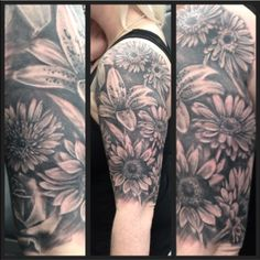Floral half sleeve by Joanne #devilsown #devilsowntattoos #tattoos #leicester #leicestertattoo #blackandgreyt #realistic #lily #lillytattoo #backshading