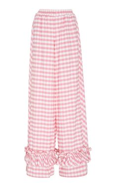 This **Alcoolique** Roll Pink Check Pant features a wide leg silhouette with ruffle detailing at the bottom and an elastic waist band. Harem Pants, Pajama Pants, Trousers, Summer Sale, Suits, Polyvore, Pink, Jackets, Shopping