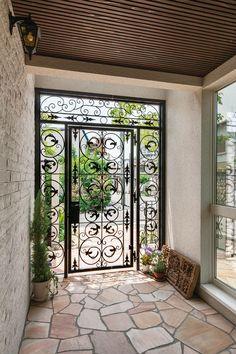 Sympathetic fine-tuned porch design for mobile homes Vote Grill Door Design, House Gate Design, Home Room Design, Home Interior Design, Interior And Exterior, Interior Ideas, House With Porch, My House, Wrought Iron Doors