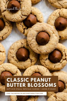 Classic Peanut Butter Blossoms are soft and chewy peanut butter cookies with a sugary, crackled top and finished with a milk chocolate kiss! They're the perfect go-to cookie for the holiday season for good reason—they're easy to make and incredibly delicious! Recipe on BeyondtheButter.com | #peanutbutterblossoms #hersheykisscookies #christmascookies #beyondthebutter #chocolate Peanut Butter Blossom Cookies, Chewy Peanut Butter Cookies, Chocolate Peanut Butter, Peanut Butter Dessert Recipes, Butter Recipe, Cookie Recipes, Christmas Cooking, Holiday Cookies, Holiday Recipes