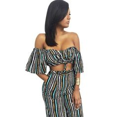 Off Shoulder Two Piece Striped Jumpsuit //Price: $31.98 & FREE Shipping //     #fashion
