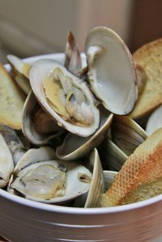 Steamed Clams in white wine garlic broth.