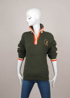 """CHANEL Forest Green, Red, and Cream Knit """"CC"""" Crown Patch Sweater – Luxury Garage Sale"""