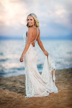 Glam wedding dress idea - halter lace gown accessorized with crystal embellished straps {Jarvis Photography}