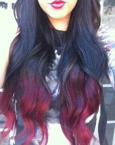 PURPLE TO RED OMBRE! Perfect. =D I can even do deep purple with dark teal tips. =)