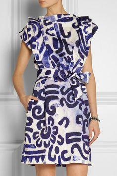VIVIENNE WESTWOOD ANGLOMANIA Blue and White Card printed cotton-poplin dress