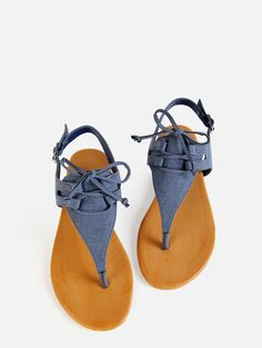 Online shopping for Denim Thong Tie Sandals DENIM from a great selection of women's fashion clothing & more at MakeMeChic.COM.