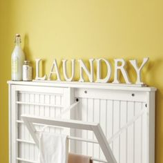 Handcrafted wood letters slide into place along a groove carved in base. Laundry Room Drying Rack, Drying Rack Laundry, Clothes Drying Racks, Laundry Room Storage, Laundry Room Design, Tiny Laundry Rooms, Laundry Room Remodel, Laundry Room Bathroom, Farmhouse Laundry Room