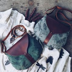 "Leather-textile bag ""Summer garden"""