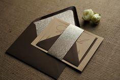 Rustic glam wedding invitations, glitter and kraft