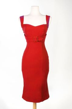 The Jessica Wiggle Dress in Vintage Red | Pinup Girl Clothing