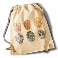 """Tattoo skull collection""  Cotton Gymsack von MAD IN BERLIN auf DaWanda.com"