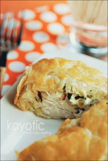 Kaytucky Chicken filled with a cream cheese, bacon & spring onion mix wrapped in puff pastry.