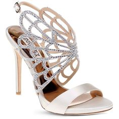 Badgley Mischka Newlyn Embellished Cage High Heel Sandals (17,225 INR) ❤ liked on Polyvore featuring shoes, sandals, ivory, butterfly shoes, winged sandals, embellished shoes, ivory shoes and embellished sandals