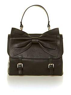 Bow flap black small cross body bag