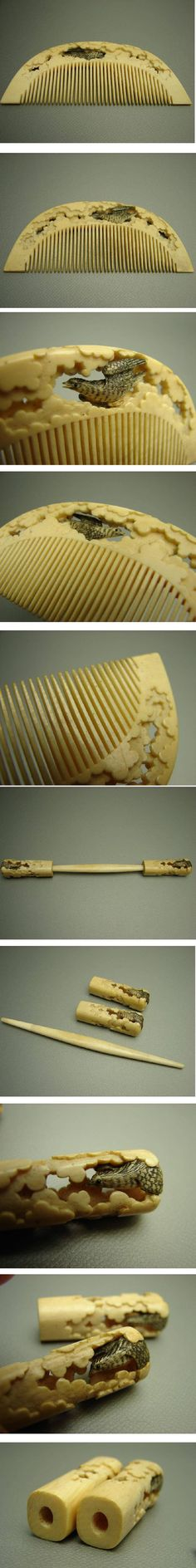 Ivory comb and Kôgai