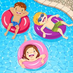 Children Relaxing On Inner Tube Baby Drawing, Drawing For Kids, Sanrio Danshi, Floating In Water, Kids Artwork, Picture Cards, Free Illustrations, Painting For Kids, Three Kids