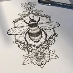 "135 Likes, 6 Comments - Riet Blackbird (@blackbirdinkstagram) on Instagram: ""Bzzz bzzz #bee #honeycomb #tattoo #tattoodesign #blackbirdtattoo"""
