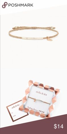 Stella & Dot Rose Gold Wishing Bracelet NEVER WORN! In original packaging shown. Wear a kiss, send a kiss. Rose gold lip charm hangs from a hand braided metallic rose thread with a semi shiny silver bar and a touch of sparkle. Fits small to large wrists. Sliding knot closure. Stella & Dot Jewelry Bracelets