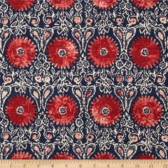 Duralee Home Riya Red/Blue from @fabricdotcom Screen-printed on a linen/rayon blend fabric, this versatile medium/heavyweight fabric is perfect for window treatments (draperies, valances, curtains and swags), toss pillows, duvet covers, pillow shams, slipcovers and upholstery. Colors include natural, red and navy.