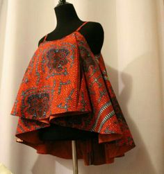 African Fabric Spaghetti Strapped Blouse by AnsabasEtem on Etsy African Fashion Ankara, Latest African Fashion Dresses, African Print Fashion, Africa Fashion, African Inspired Fashion, Latest Fashion, Short African Dresses, African Blouses, African Tops