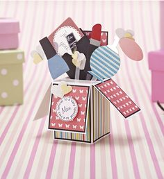 Free card making templates from Papercraft inspirations 136 – including this fab box card for Mother's Day!