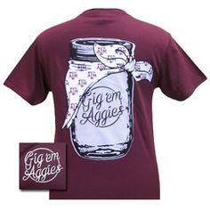 New Texas A&M Aggies Mason Jar Logo Girlie Bright T Shirt | SimplyCuteTees