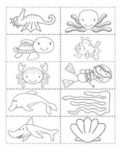 Whats in the Ocean Activities for Kids Part 1 Fish Outline, Sea Animal Crafts, Sea Activities, Vocabulary Activities, Kids Part, Under The Sea Theme, Under The Sea Crafts, Ocean Unit, Ocean Crafts