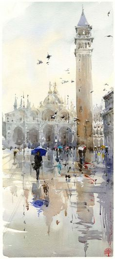 Igor Sava watercolor -Painting holiday Spain with Dalvaro Art Courses - Learn watercolor techniques with Igor Sava Watercolour Artist - Enjoy painting in Spain Workshop Igor Sava Art Aquarelle, Art Watercolor, Watercolor Landscape, Watercolour Paintings, Fine Art, Beautiful Paintings, Painting Inspiration, Painting & Drawing, Cloud Drawing
