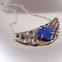 Lapis Lazuli Industrial Necklace - Heavy Metal. Large handmade lazurite statement bib necklace