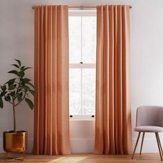 Solid European Flax Linen Melange Curtain - Terracotta | West Elm