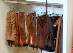 When you're not wearing your tall boots, you can hang them up to avoid clutter.