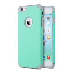 iPhone 6 Plus Case (5.5 inch), ULAK Slim Hybrid Dual Layer Shockproof Silicone Case Cover for Apple iPhone 6 Plus 5.5 inch (Turquoise/Grey)