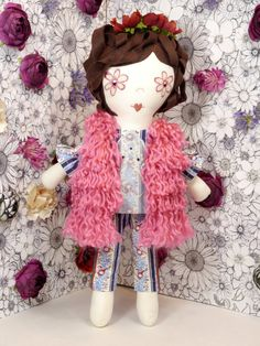 Handmade one of a kind 18 inch fabric flower power by ohbAby1112 #handmadedoll #fabricdoll #clothdoll
