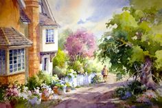 Down the Lane , Watercolor painting of England - Watercolor Paintings by Roland Lee